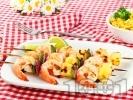 Рецепта Пикантни шишчета със скариди и ананас на скара